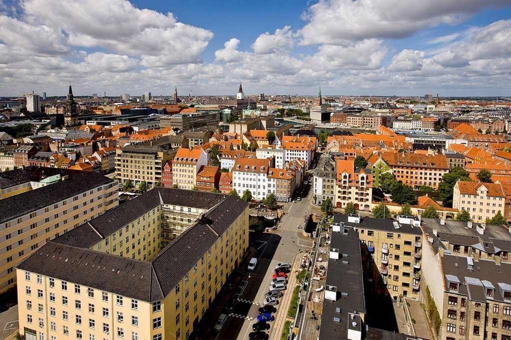 Stock Photo: 1848R-347844 View of Copenhagen from the top of Our Saviours Church, Copenhagen, Denmark, Europe