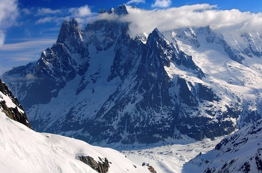 In the Vallée Blanche valley, view on the Mer de Glace glacier and the range of Mt Aiguille Verte, Chamonix, Haute_Savoie, France : Stock Photo