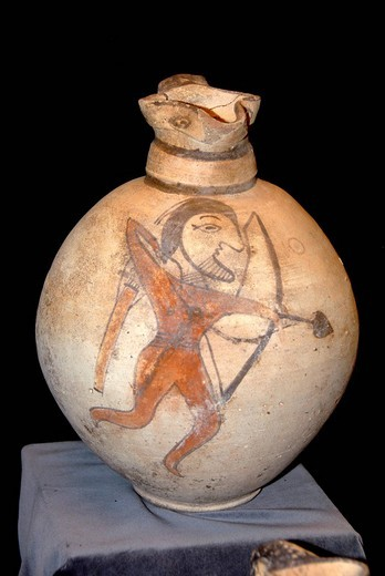 Stock Photo: 1848R-347967 Archaeological finding old Greek carafe with painted archer in the archaeological museum near Apostle Apostolos Barnabas monastery near Salamis North Cyprus