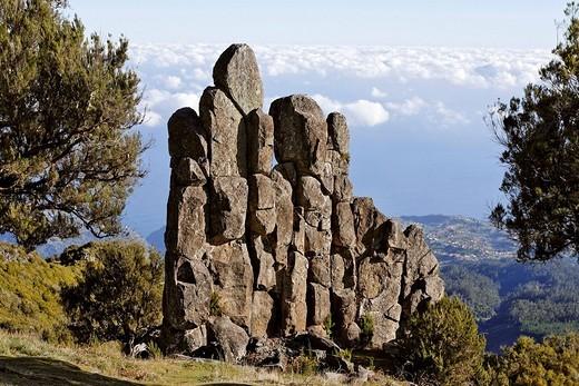 Rock formation called Homem em Pe stony human on the Achada do Teixeira, Madeira, Portugal : Stock Photo