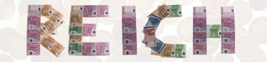 Stock Photo: 1848R-349026 Wealthy/reich, written with bank notes