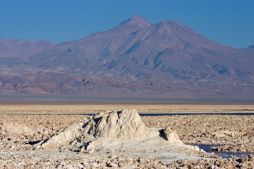 Salt formations covering the ground of the Reserva Nacional los Flamencos at Salar de Atacama salt flats, Región de Antofagasta, Chile, South America : Stock Photo