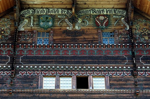 Stock Photo: 1848R-350277 Vennerhaus, Ornate Simmental farmhouse, Bunschen, Simmental, Switzerland