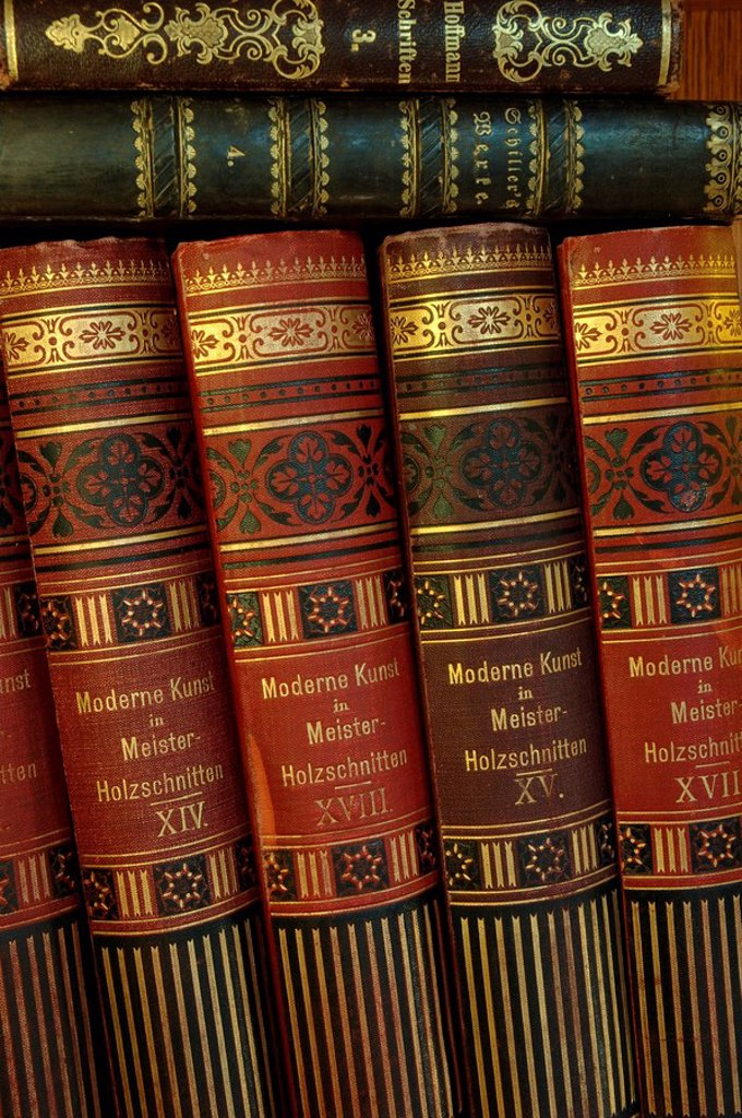 Stock Photo: 1848R-350566 Old art volumes modern art in master woodcuts of the beginning of the 20th century