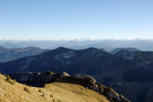 Stock Photo: 1848R-351420 View from mountain Hinteres Sonnwendjoch to the southern Alpes, Austria