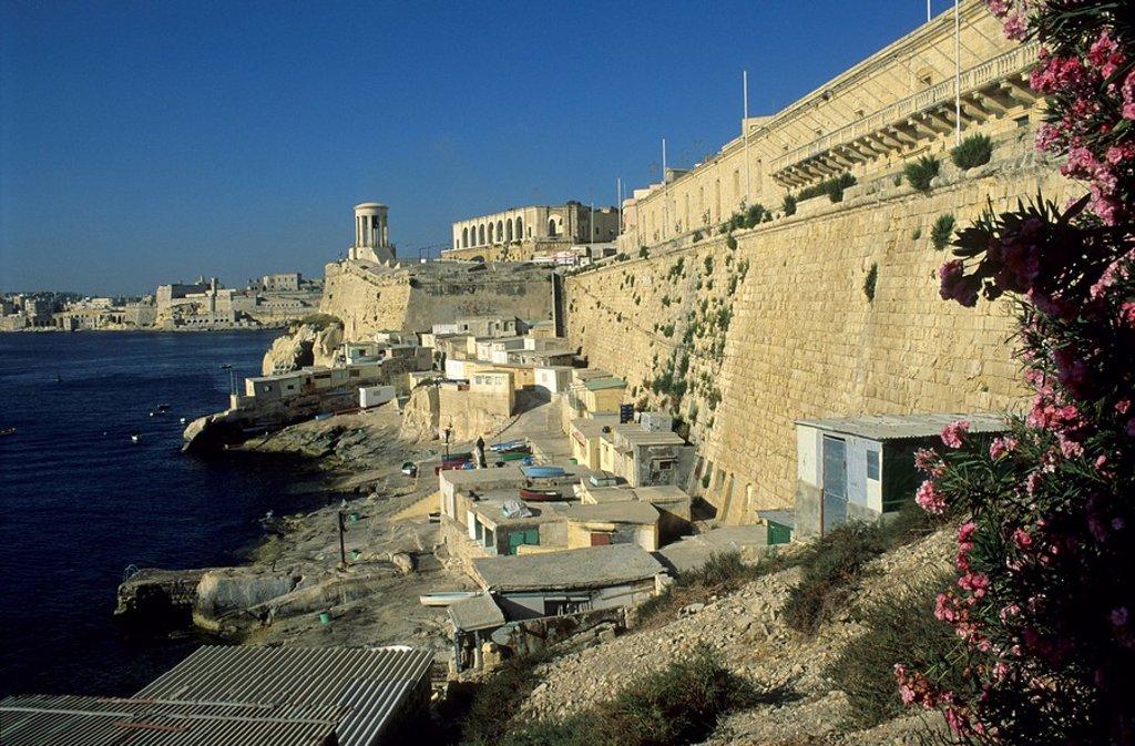 St. Lazarus Curtain in the historic center of Valetta, La Valetta, Unesco World Heritage Site, Malta : Stock Photo