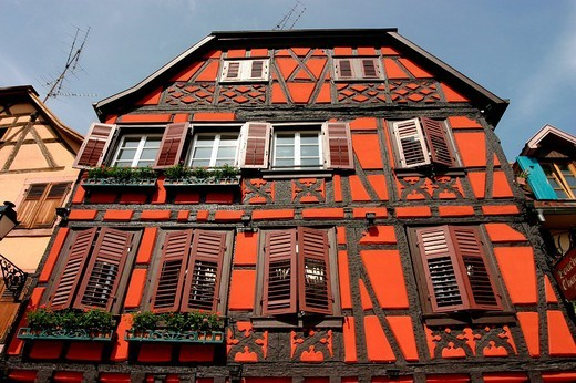 Old timber frame house Riquewihr Alsace France : Stock Photo