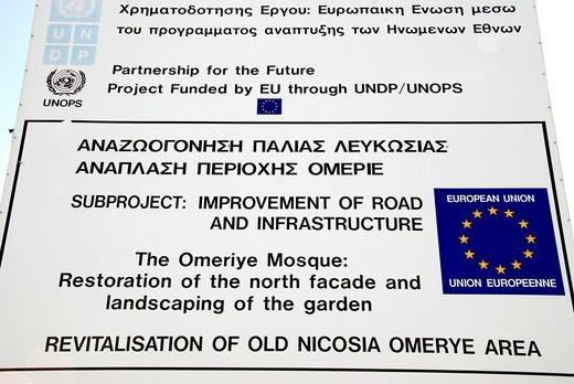 Stock Photo: 1848R-351802 Info board, Nicosia, Cyprus, Greek part, member of the EU