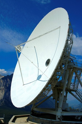 Stock Photo: 1848R-352488 Cassegrain Parabolic antenna with subreflector Satellite Land Earth Station Leuk Valais Switzerland