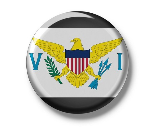 Stock Photo: 1848R-352985 Button badge, flag, United States Virgin Islands