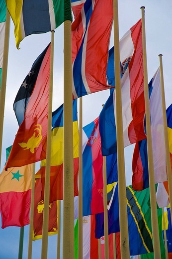 International flags in front of Messe Berlin fairgrounds, Berlin, Germany : Stock Photo