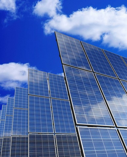 Solar panels against blue sky : Stock Photo