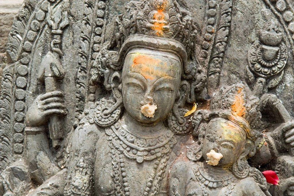 Stock Photo: 1848R-353347 Hinduistic statue, Swayambhunat Tempel, Kathmandu, Nepal