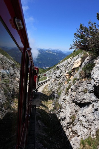 Schafbergbahn mountain train, Schafberg mountain, Salzkammergut region, Salzburg Land state, Austria, Europe : Stock Photo