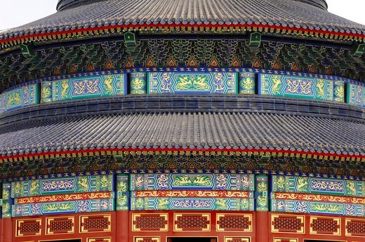 Stock Photo: 1848R-354371 Detail, Hall of Prayer for Good Harvests, Temple of Heaven, Beijing, China