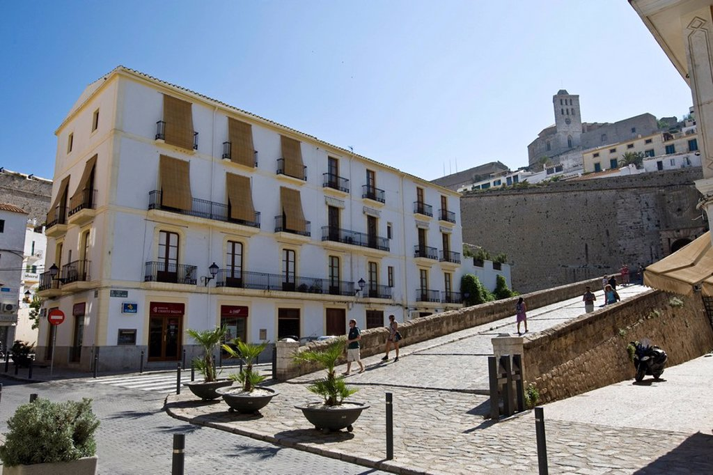 Old town of Eivissa, Dalt Vila, Ibiza, Baleares, Spain : Stock Photo