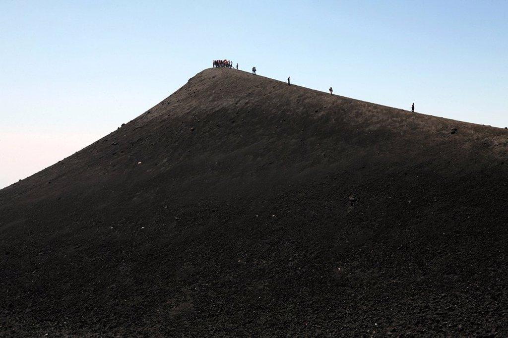 Stock Photo: 1848R-354544 Tourists climbing Mt  Etna, Sicily, Italy, Europe