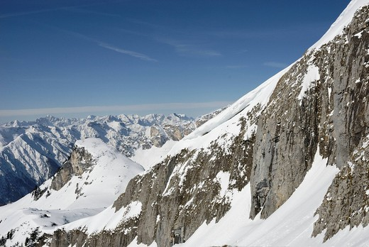 Stock Photo: 1848R-354689 Snow-covered western side of the Karwendel Range and peaks of the Rofan Range in the distance, Tyrol, Austria, Europe