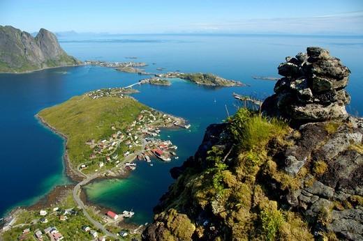 View on Reine from Hammarskattet Moskenesoya Lofoten Norway : Stock Photo