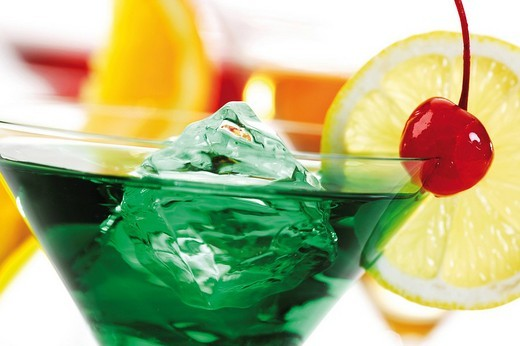 Green banana cocktail on ice : Stock Photo