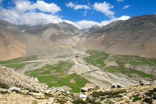 View into a wide green vallay alluvial land of a mountain river Gangka near Nyalam Tibet China : Stock Photo