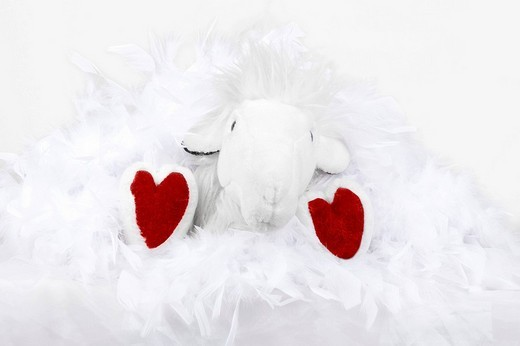 Stock Photo: 1848R-356574 White stuffed animal with heart-shaped feet