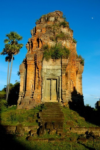 Khmer temple of brick Bakong Roluos Group Angkor Siem Reap Cambodia : Stock Photo