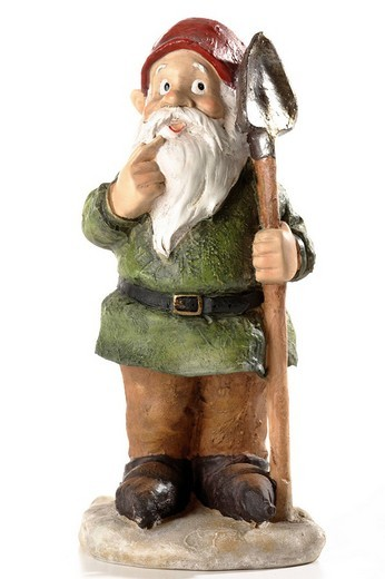 Stock Photo: 1848R-356704 Garden gnome holding shovel