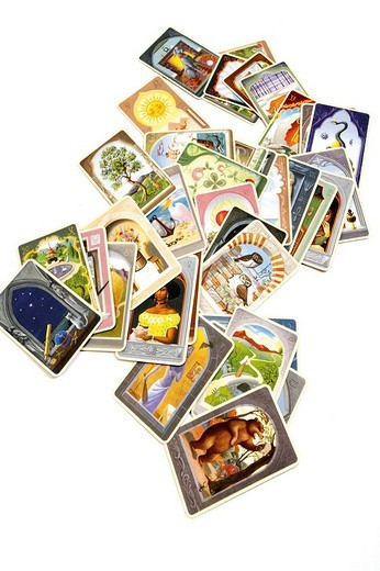 Scattered tarot cards, lenormand cards - fortune telling : Stock Photo