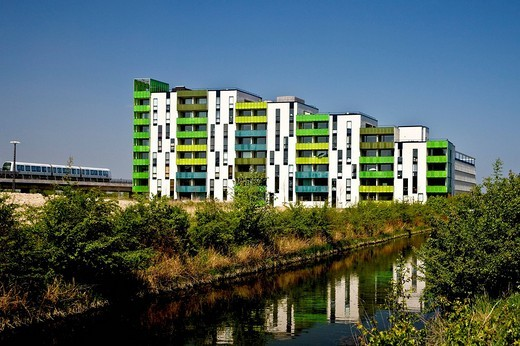 Colourful high_rise block, Copenhagen, Denmark : Stock Photo