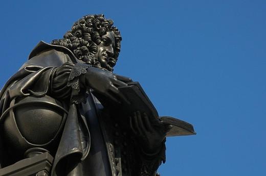 Monument Gottfried Wilhelm Leibniz, Leipzig, Saxony, Germany, Europe : Stock Photo
