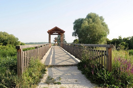 Bridge of Andau crossing Einserkanal canal, Austrian_Hungarian border, in Seewinkel, near Andau, Austria, Europe : Stock Photo