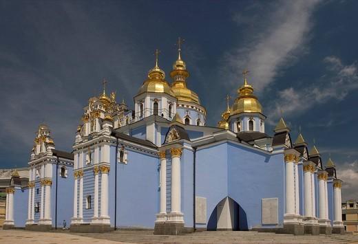 Ukraine Kiev golden domes of St  Michel MonasteryUkraine37 wiedererbaut 1996 : Stock Photo