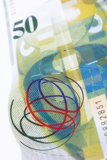 Stock Photo: 1848R-357704 50 Swiss Franks bill, back side
