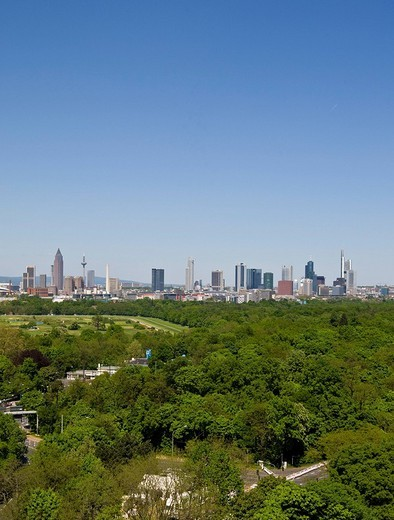 Stock Photo: 1848R-357910 Frankfurt skyline, Deutsche Bank, Commerzbank, Messeturm tower block, German Central Bank, horse track and Niederrad golf course in foreground, Hesse, Germany, Europe