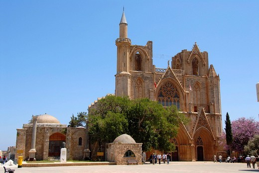 Stock Photo: 1848R-358402 Former St. Nicholas Cathedral now Lala Mustapha Pasha Mosque with square Famagusta Gazimagusa North Cyprus