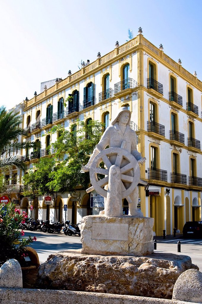 Stock Photo: 1848R-358622 Old building with seafarer memorial, port of Eivissa, Ibiza, Baleares, Spain