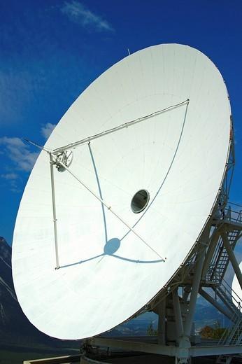 Cassegrain Parabolic antenna with subreflector Satellite Land Earth Station Leuk Valais Switzerland : Stock Photo