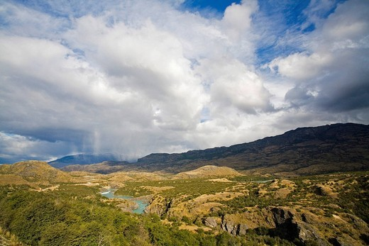 Rain clouds at Rio Baker on the way to Cochrane, Patagonia, Chile, South America : Stock Photo