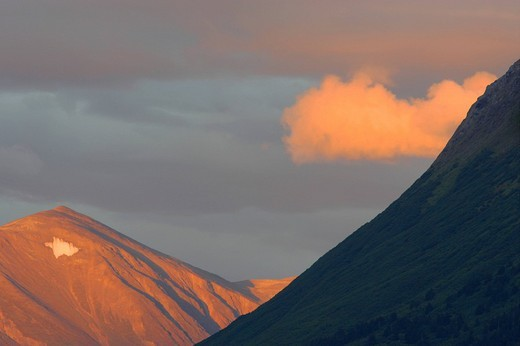 A mountain near the Exit glacier at sunset Kenai peninsula Seward Alaska USA : Stock Photo