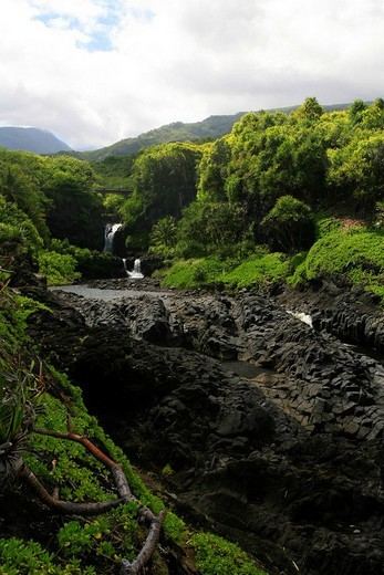 Seven Sacred Pools, ´Ohe´o Gulch, road to Hana, popular tourist road, east coast of Maui Island, Hawai´i, Hawaii, USA : Stock Photo