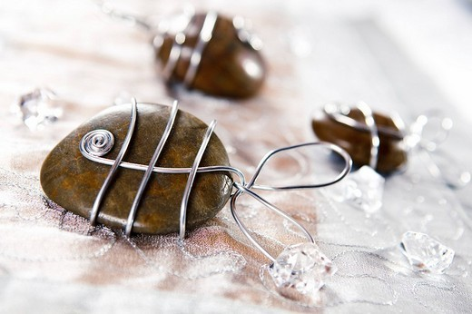 Hand_crafted fish made from stones, table decoration : Stock Photo