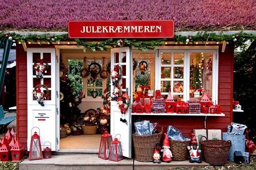 Christmas decoration stall in Tivoli, Copenhagen, Denmark : Stock Photo