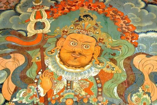 Stock Photo: 1848R-362305 Buddhist wall painting demon Sera Monastery Lhasa Tibet China