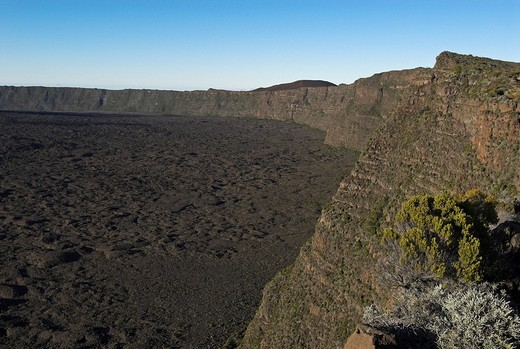 Stock Photo: 1848R-362833 Caldera of Piton de la Fournaise volcano, La Reunion Island, France, Africa