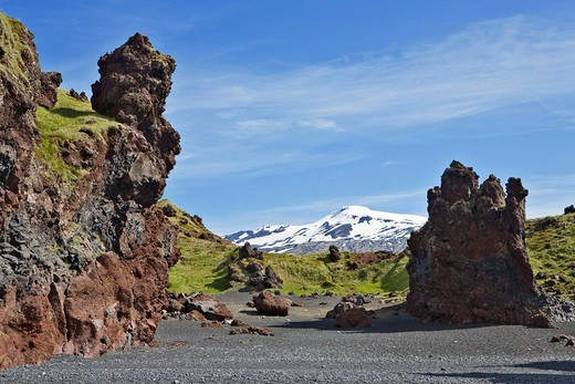 Stock Photo: 1848R-362995 Lava rock formations with Mt  Snaefellsnessjoekull in the background, Djupalónssandur, Snaefellsness Peninsula, Iceland, Atlantic Ocean