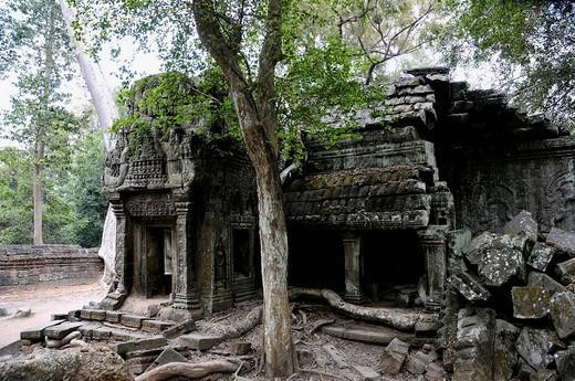 Stock Photo: 1848R-363039 Ta Trohm Temple, Bayon Temple, Angkor Thom, Cambodia, Southeast Asia