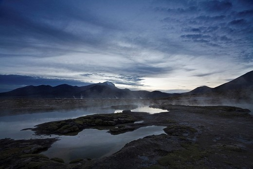 Stock Photo: 1848R-364072 Natural thermal springs Polloquere at dawn, salt lake Salar de Surire, national park Reserva Nacional Las Vicunas, Chile, South America