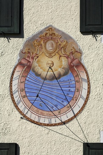 Stock Photo: 1848R-364770 Sundial, bavarian state stud farm, Schwaiganger, Bavaria, Germany, Europe