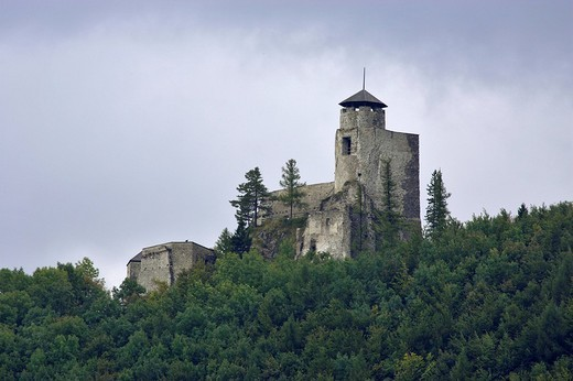 Thunderstorm over the castle ruin Araburg on the Gerichtsberg near Kaumberg Lower Austria : Stock Photo